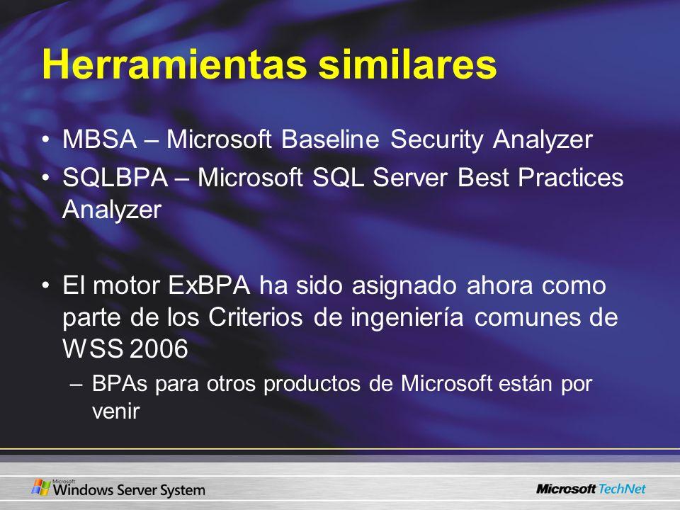 Herramientas similares MBSA – Microsoft Baseline Security Analyzer SQLBPA – Microsoft SQL Server Best Practices Analyzer El motor ExBPA ha sido asigna