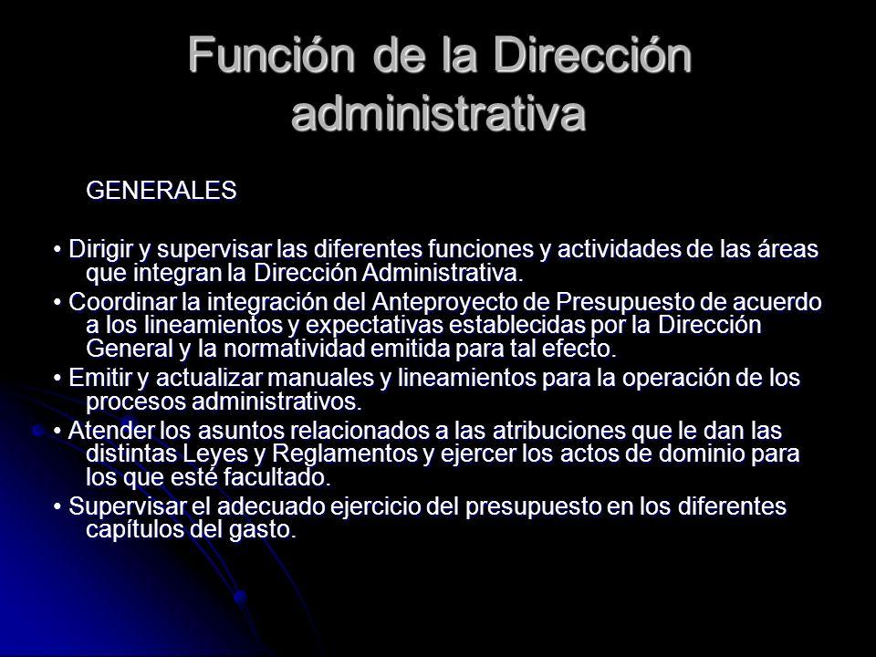 Función de la Dirección administrativa GENERALES Dirigir y supervisar las diferentes funciones y actividades de las áreas que integran la Dirección Ad