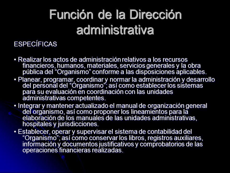 Función de la Dirección administrativa ESPECÍFICAS Realizar los actos de administración relativos a los recursos financieros, humanos, materiales, ser