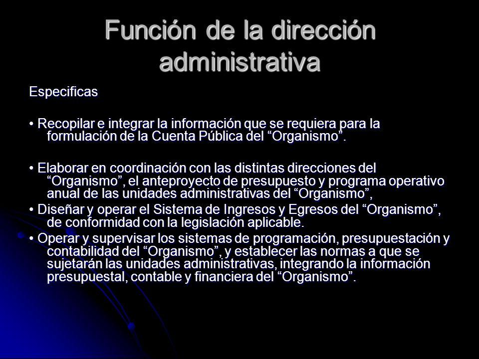 Función de la dirección administrativa Especificas Recopilar e integrar la información que se requiera para la formulación de la Cuenta Pública del Or