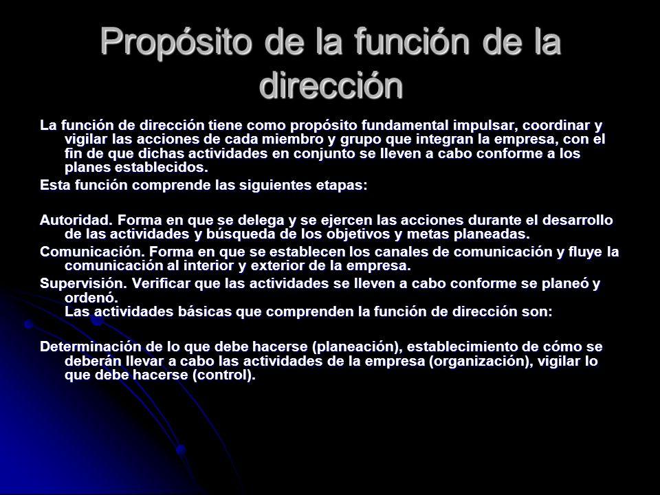 Propósito de la función de la dirección La función de dirección tiene como propósito fundamental impulsar, coordinar y vigilar las acciones de cada mi