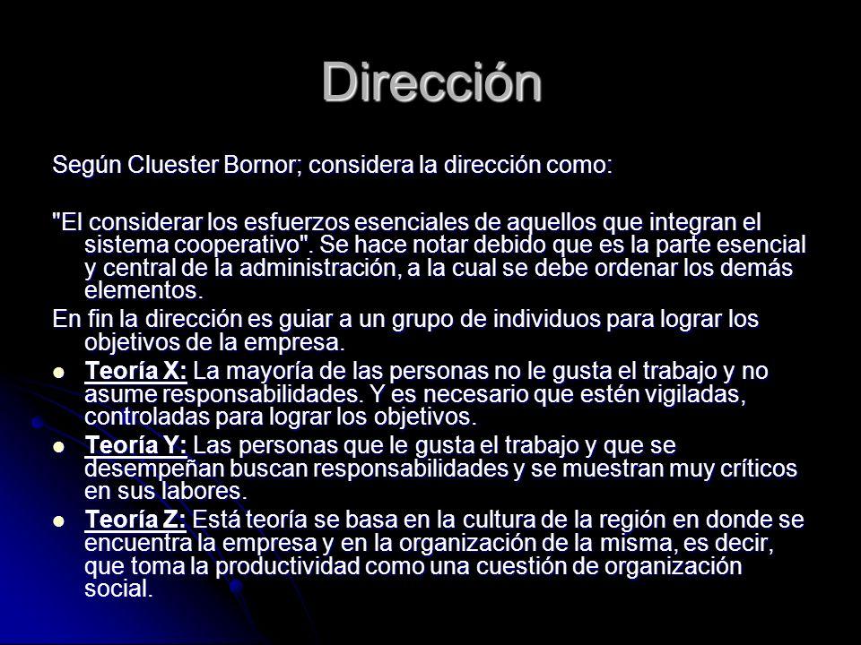 Dirección Según Cluester Bornor; considera la dirección como: