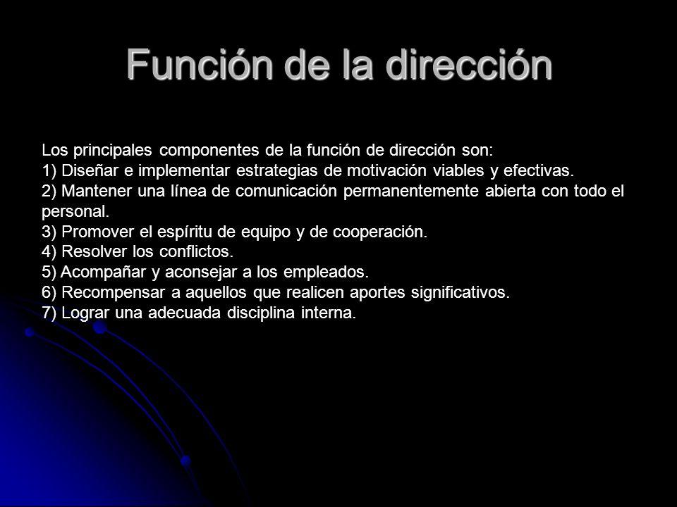 Función de la dirección Los principales componentes de la función de dirección son: 1) Diseñar e implementar estrategias de motivación viables y efect