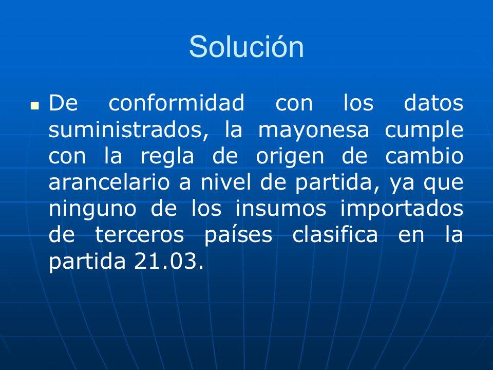 Solución De conformidad con los datos suministrados, la mayonesa cumple con la regla de origen de cambio arancelario a nivel de partida, ya que ningun