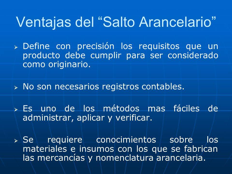 Ventajas del Salto Arancelario Define con precisión los requisitos que un producto debe cumplir para ser considerado como originario. No son necesario
