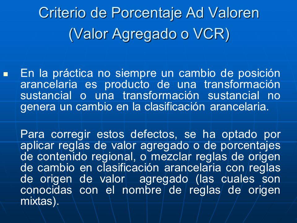Criterio de Porcentaje Ad Valoren (Valor Agregado o VCR) En la práctica no siempre un cambio de posición arancelaria es producto de una transformación