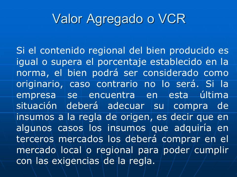 Valor Agregado o VCR Si el contenido regional del bien producido es igual o supera el porcentaje establecido en la norma, el bien podrá ser considerad