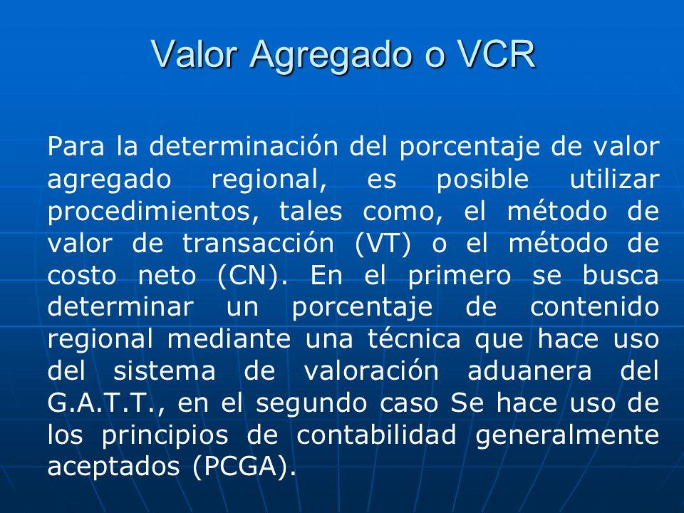 Valor Agregado o VCR Para la determinación del porcentaje de valor agregado regional, es posible utilizar procedimientos, tales como, el método de val