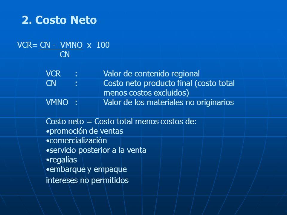 2. Costo Neto VCR= CN - VMNO x 100 CN VCR:Valor de contenido regional CN:Costo neto producto final (costo total menos costos excluidos) VMNO:Valor de