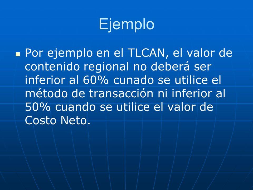 Ejemplo Por ejemplo en el TLCAN, el valor de contenido regional no deberá ser inferior al 60% cunado se utilice el método de transacción ni inferior a