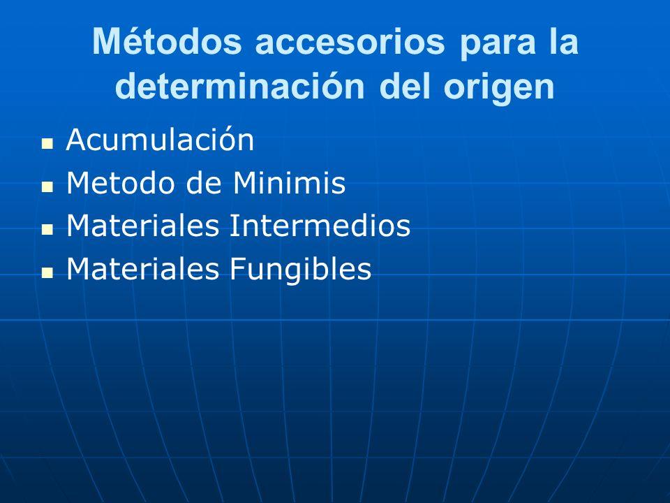 Métodos accesorios para la determinación del origen Acumulación Metodo de Minimis Materiales Intermedios Materiales Fungibles