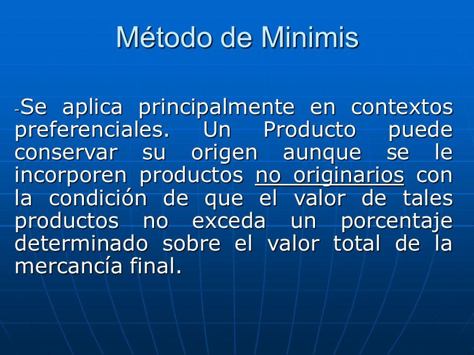 Método de Minimis - Se aplica principalmente en contextos preferenciales. Un Producto puede conservar su origen aunque se le incorporen productos no o
