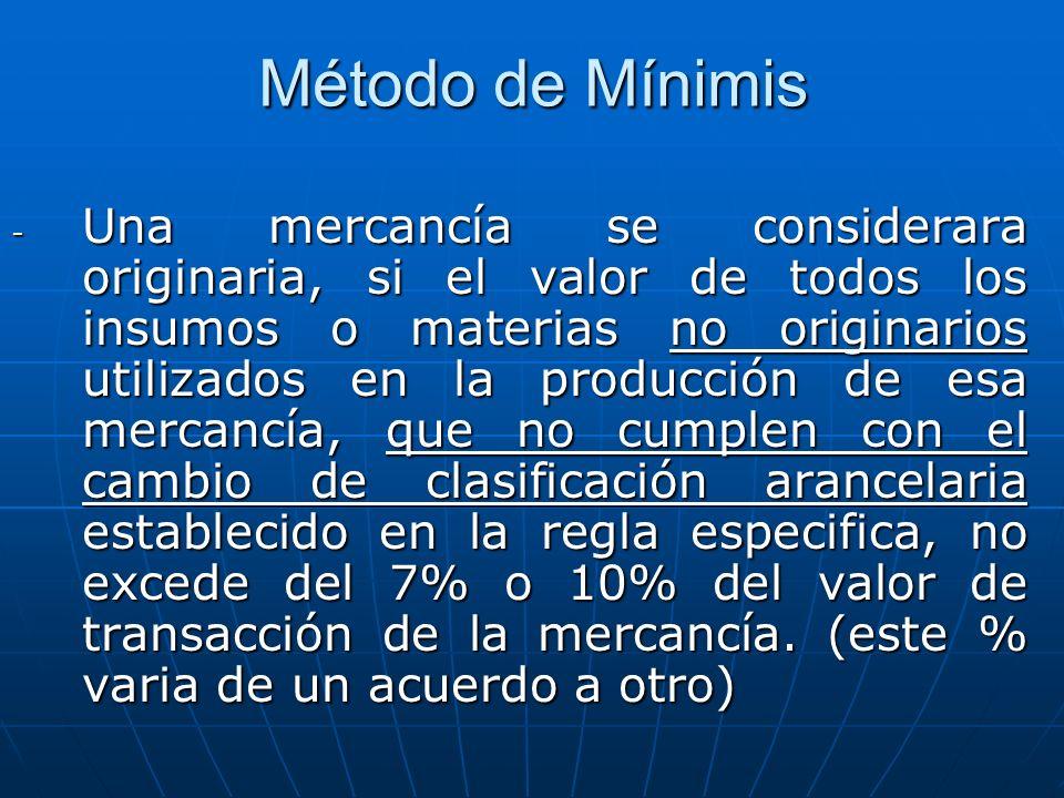 Método de Mínimis - Una mercancía se considerara originaria, si el valor de todos los insumos o materias no originarios utilizados en la producción de