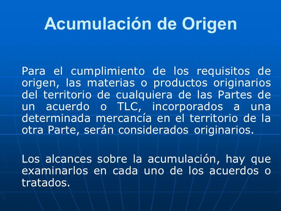 Acumulación de Origen Para el cumplimiento de los requisitos de origen, las materias o productos originarios del territorio de cualquiera de las Parte