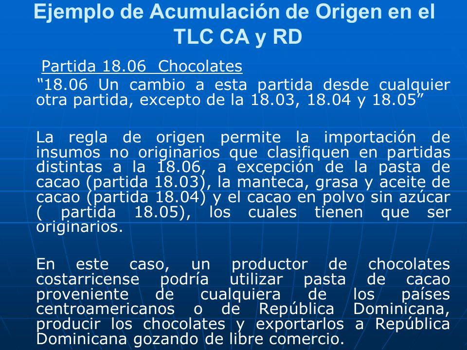 Ejemplo de Acumulación de Origen en el TLC CA y RD Partida 18.06 Chocolates 18.06 Un cambio a esta partida desde cualquier otra partida, excepto de la