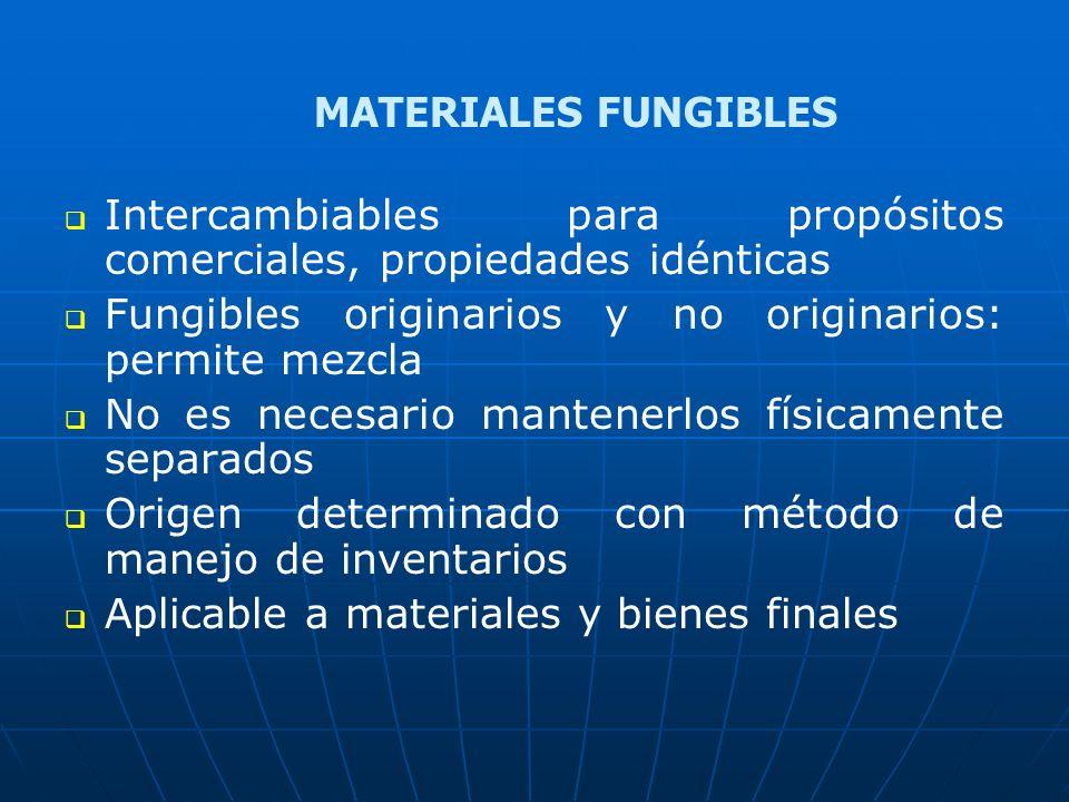 Intercambiables para propósitos comerciales, propiedades idénticas Fungibles originarios y no originarios: permite mezcla No es necesario mantenerlos