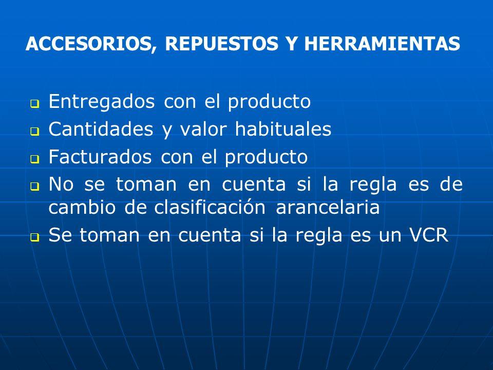 Entregados con el producto Cantidades y valor habituales Facturados con el producto No se toman en cuenta si la regla es de cambio de clasificación ar