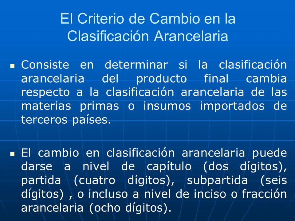 El Criterio de Cambio en la Clasificación Arancelaria Consiste en determinar si la clasificación arancelaria del producto final cambia respecto a la c