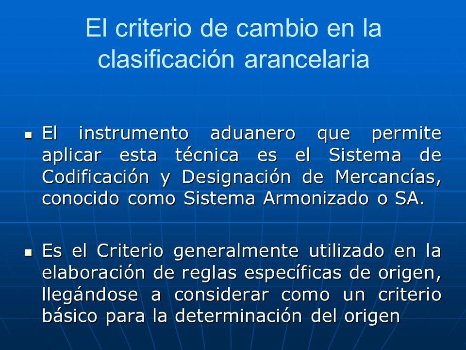 El criterio de cambio en la clasificación arancelaria El instrumento aduanero que permite aplicar esta técnica es el Sistema de Codificación y Designa