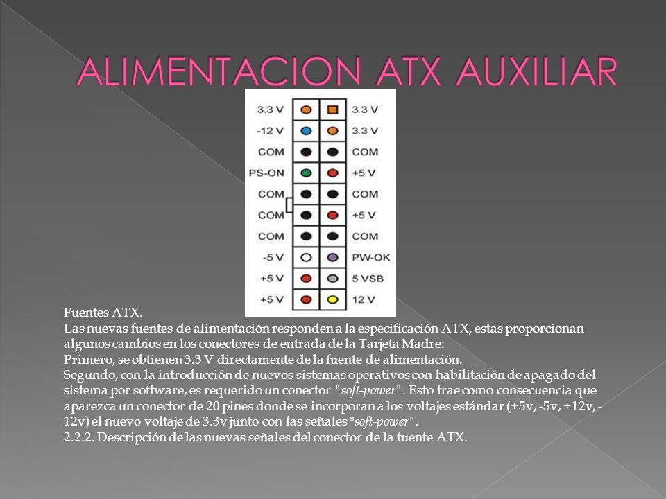 Fuentes ATX. Las nuevas fuentes de alimentación responden a la especificación ATX, estas proporcionan algunos cambios en los conectores de entrada de