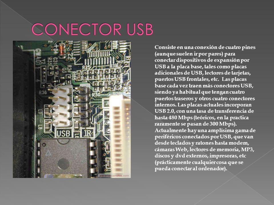 Consiste en una conexión de cuatro pines (aunque suelen ir por pares) para conectar dispositivos de expansión por USB a la placa base, tales como plac