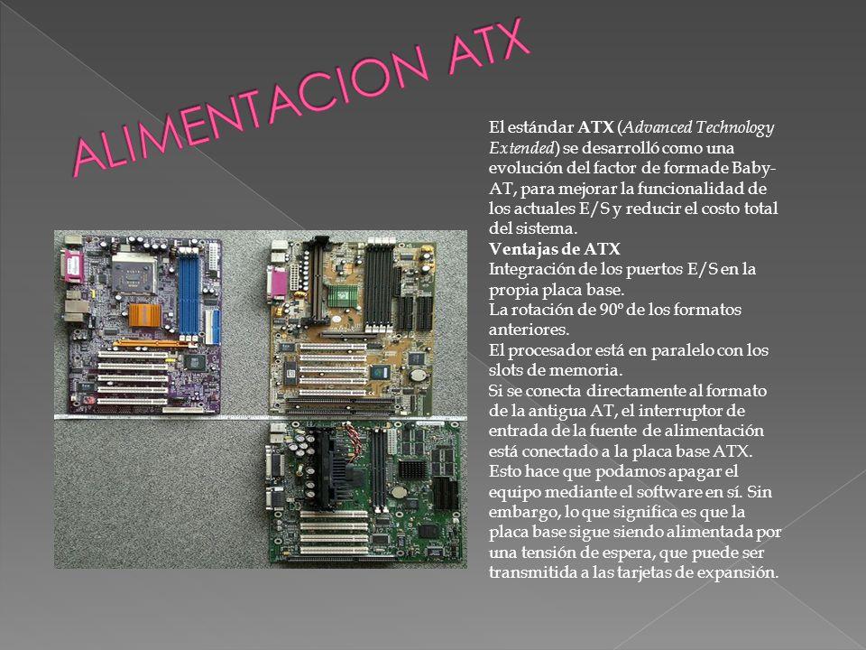 El estándar ATX ( Advanced Technology Extended ) se desarrolló como una evolución del factor de formade Baby- AT, para mejorar la funcionalidad de los