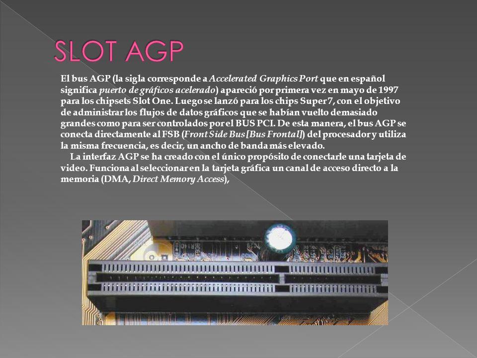 El bus AGP (la sigla corresponde a Accelerated Graphics Port que en español significa puerto de gráficos acelerado ) apareció por primera vez en mayo