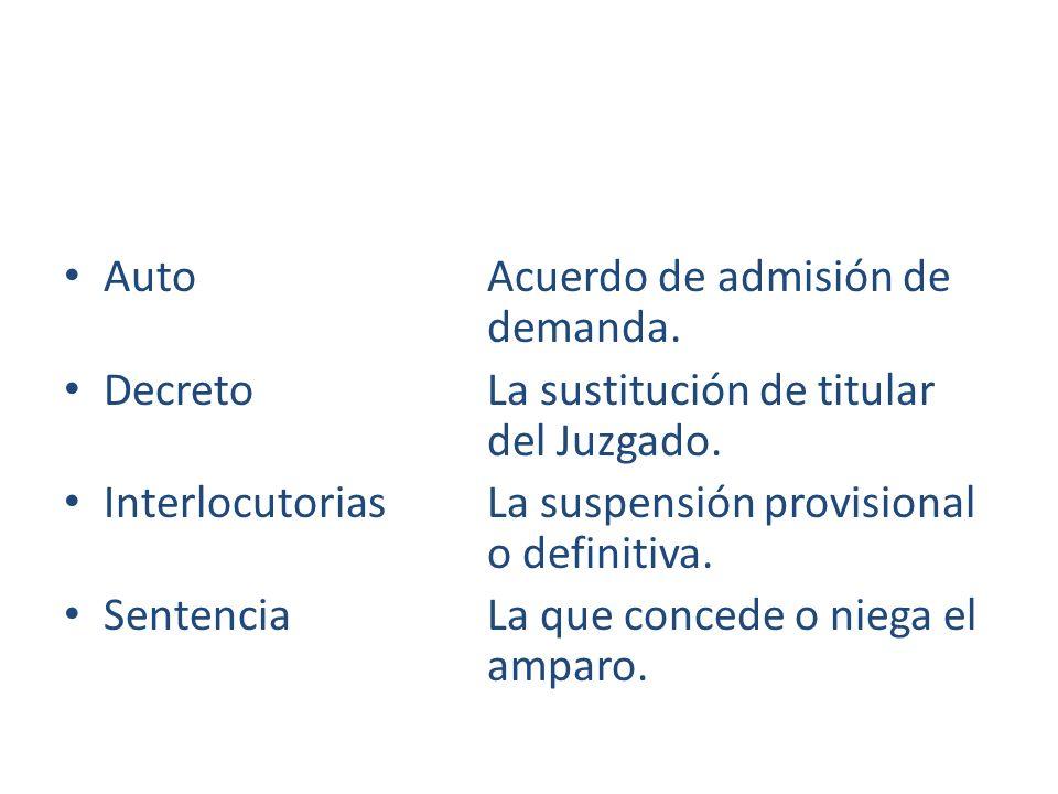 Auto Acuerdo de admisión de demanda. Decreto La sustitución de titular del Juzgado. Interlocutorias La suspensión provisional o definitiva. Sentencia