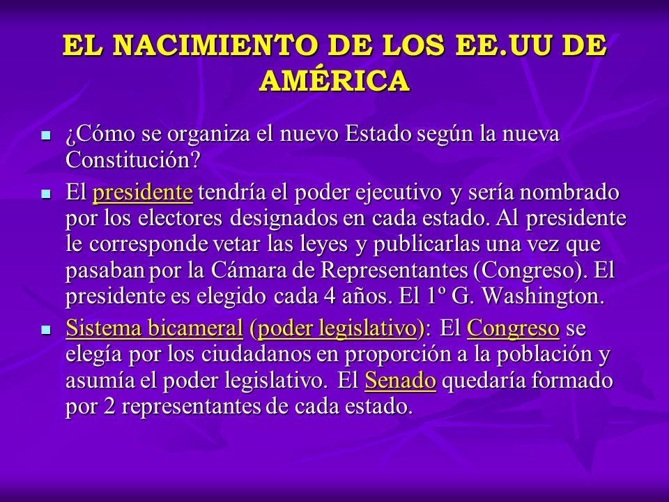 EL NACIMIENTO DE LOS EE.UU DE AMÉRICA ¿Cómo se organiza el nuevo Estado según la nueva Constitución? ¿Cómo se organiza el nuevo Estado según la nueva