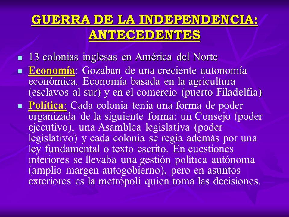 GUERRA DE LA INDEPENDENCIA: ANTECEDENTES 13 colonias inglesas en América del Norte 13 colonias inglesas en América del Norte Gozaban de una creciente
