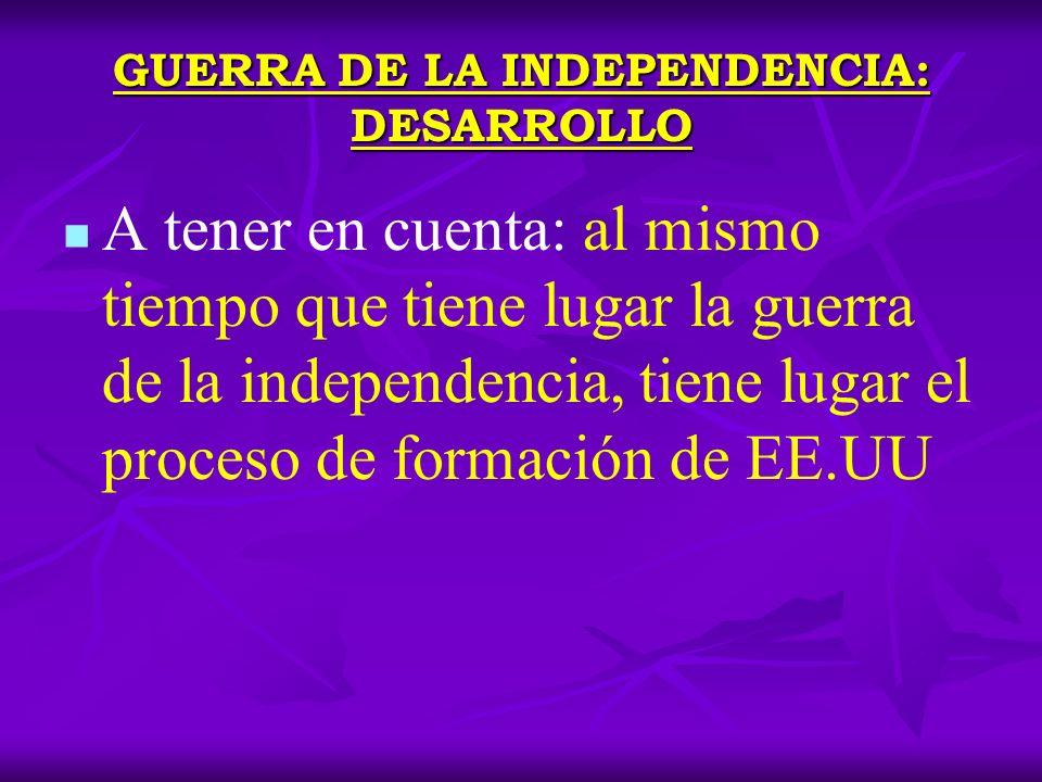 GUERRA DE LA INDEPENDENCIA: DESARROLLO GUERRA Primer Congreso Continental en Filadelfia (1774) al que acuden representantes de las 13 colonias.