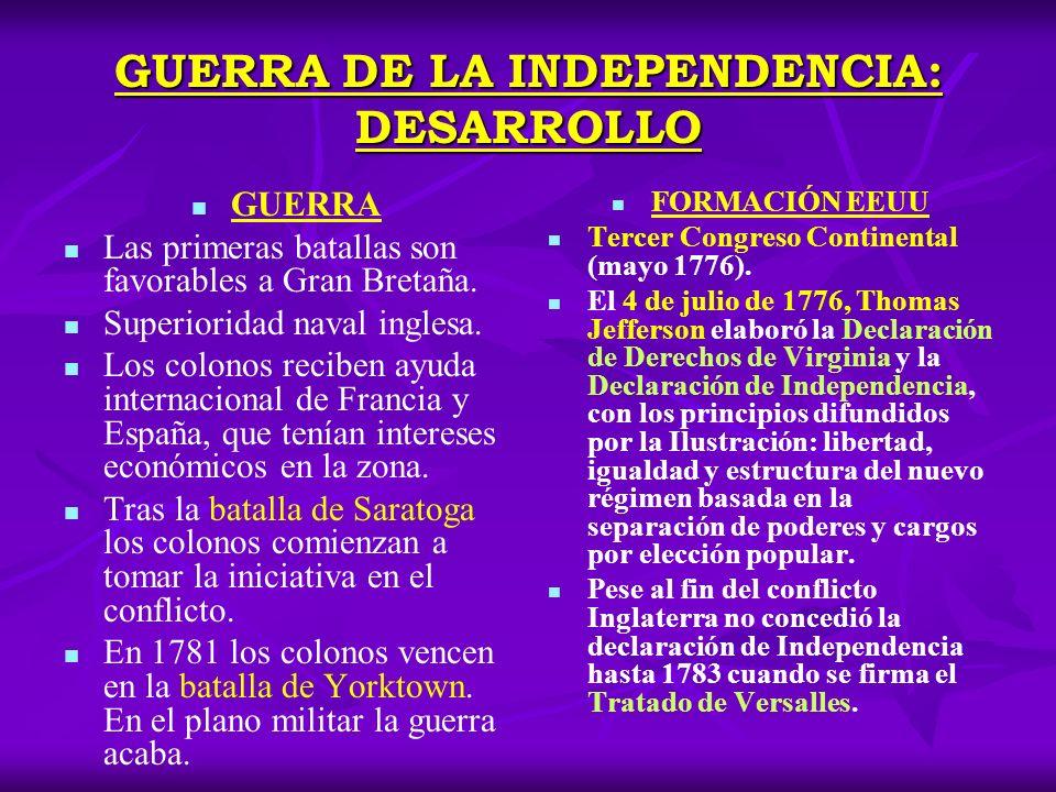 EL NACIMIENTO DE LOS EE.UU DE AMÉRICA Tras la guerra independencia cada Estado de América del Norte elabora una constitución inspirada en la Ilustración.
