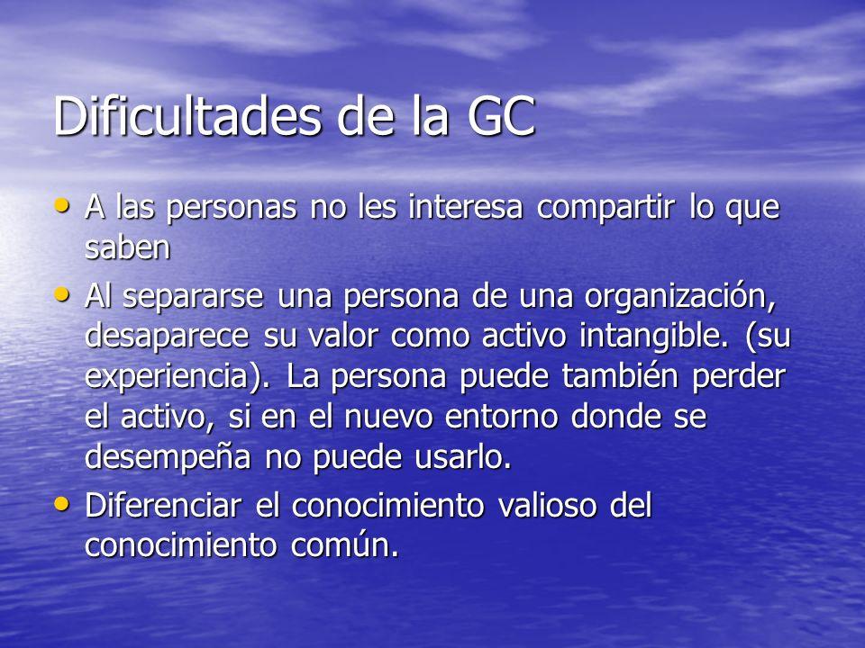 Desafíos sociales de la GC Generar canales de comunicación entre las persona que permitan divulgar la experiencia cuando estas ocurren, haciendo que el conocimiento fluya en la organización.