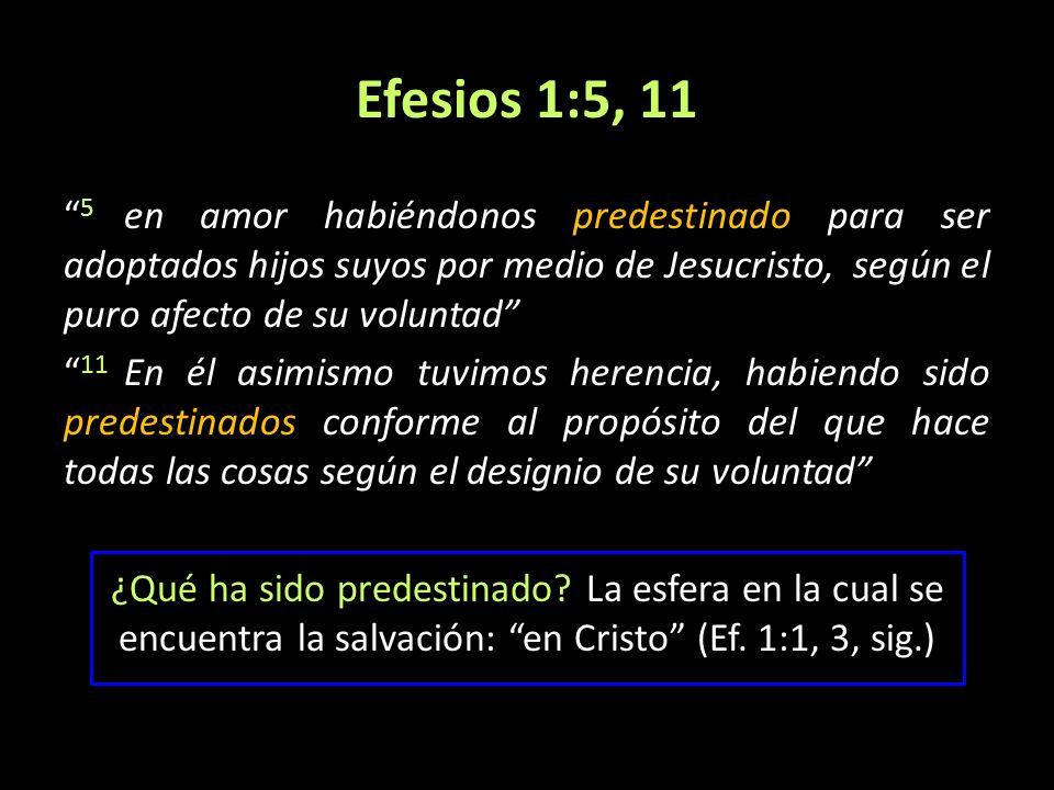 Efesios 1:5, 11 5 en amor habiéndonos predestinado para ser adoptados hijos suyos por medio de Jesucristo, según el puro afecto de su voluntad 11 En é