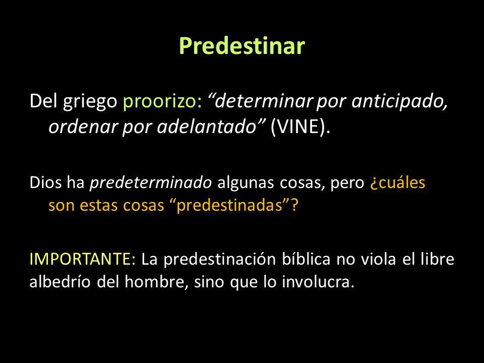 Predestinar Del griego proorizo: determinar por anticipado, ordenar por adelantado (VINE). Dios ha predeterminado algunas cosas, pero ¿cuáles son esta