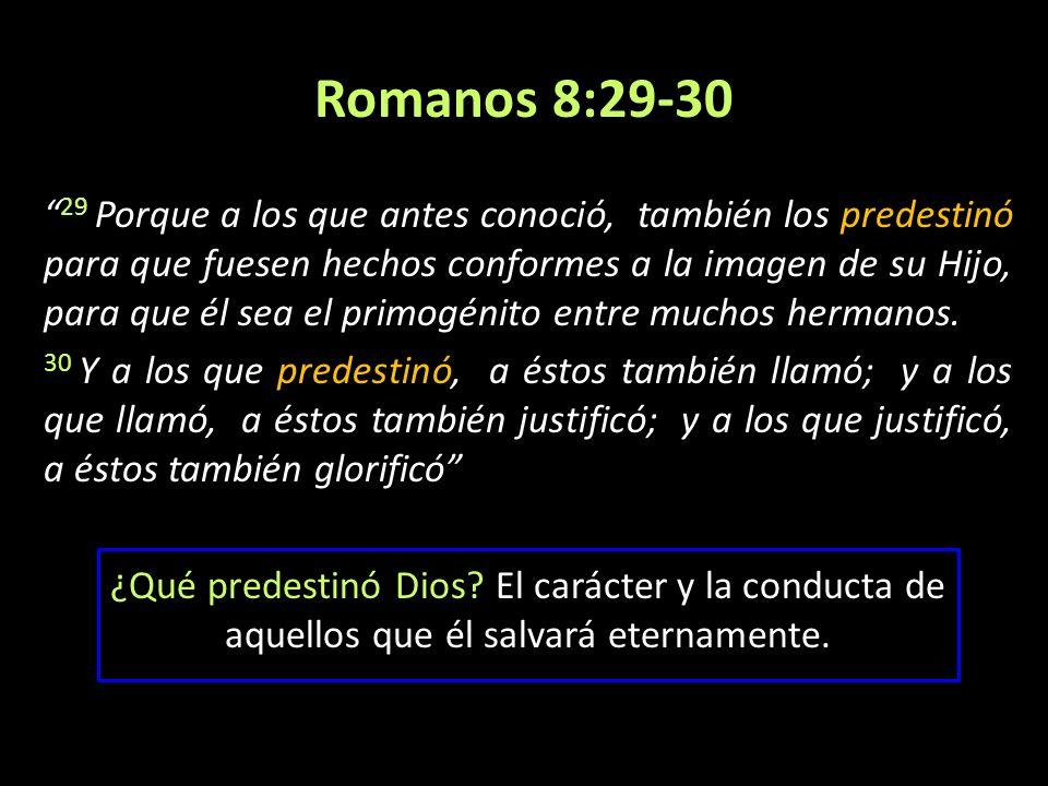 Romanos 8:29-30 29 Porque a los que antes conoció, también los predestinó para que fuesen hechos conformes a la imagen de su Hijo, para que él sea el