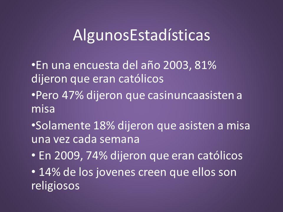 AlgunosEstadísticas En una encuesta del año 2003, 81% dijeron que eran católicos Pero 47% dijeron que casinuncaasisten a misa Solamente 18% dijeron qu