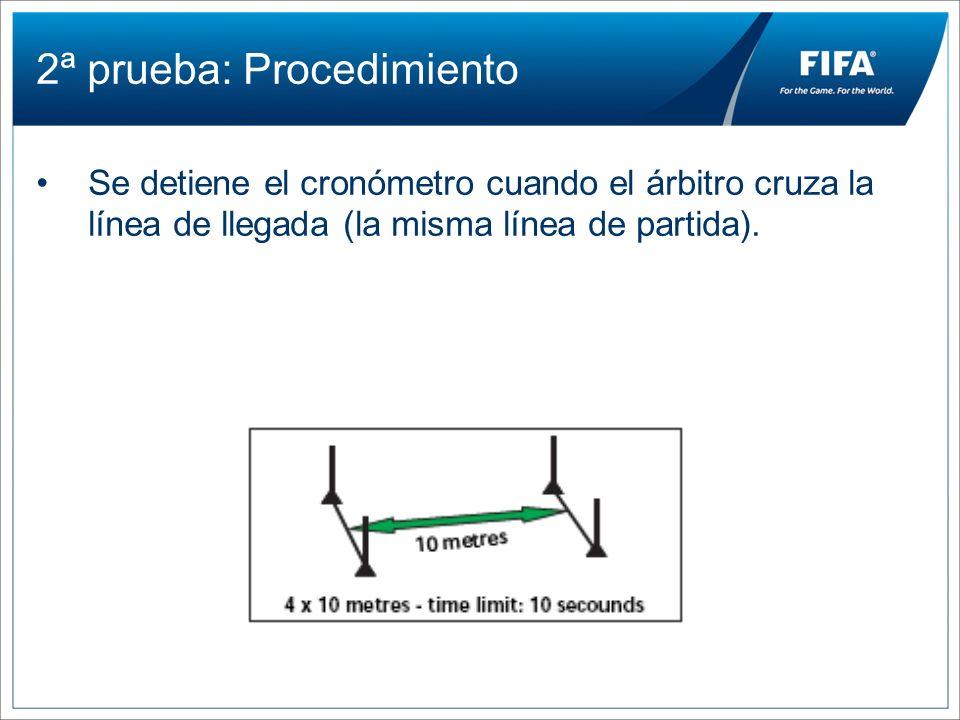 2ª prueba: Procedimiento Se detiene el cronómetro cuando el árbitro cruza la línea de llegada (la misma línea de partida).