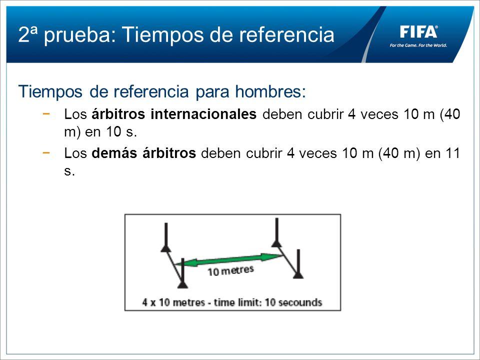 2ª prueba: Tiempos de referencia Tiempos de referencia para hombres: Los árbitros internacionales deben cubrir 4 veces 10 m (40 m) en 10 s. Los demás