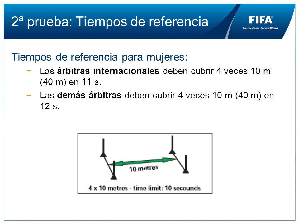 2ª prueba: Tiempos de referencia Tiempos de referencia para mujeres: Las árbitras internacionales deben cubrir 4 veces 10 m (40 m) en 11 s. Las demás