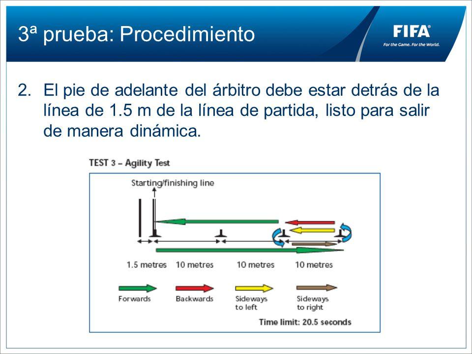 3ª prueba: Procedimiento 2.El pie de adelante del árbitro debe estar detrás de la línea de 1.5 m de la línea de partida, listo para salir de manera di