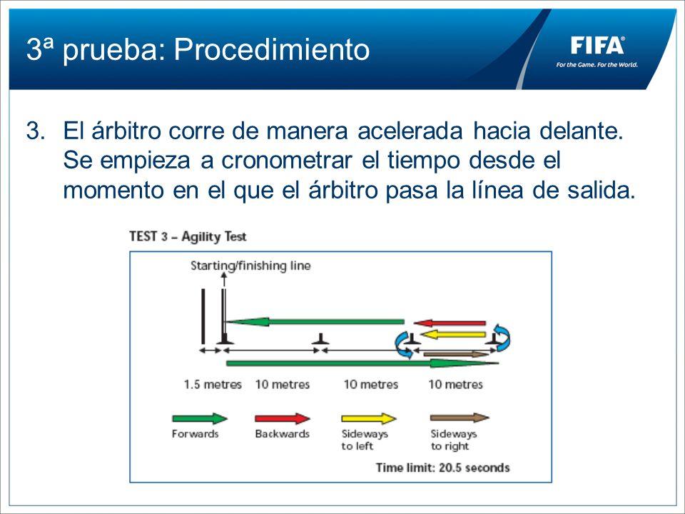 3ª prueba: Procedimiento 3.El árbitro corre de manera acelerada hacia delante. Se empieza a cronometrar el tiempo desde el momento en el que el árbitr