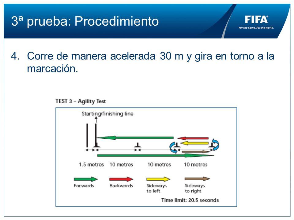 3ª prueba: Procedimiento 4.Corre de manera acelerada 30 m y gira en torno a la marcación.