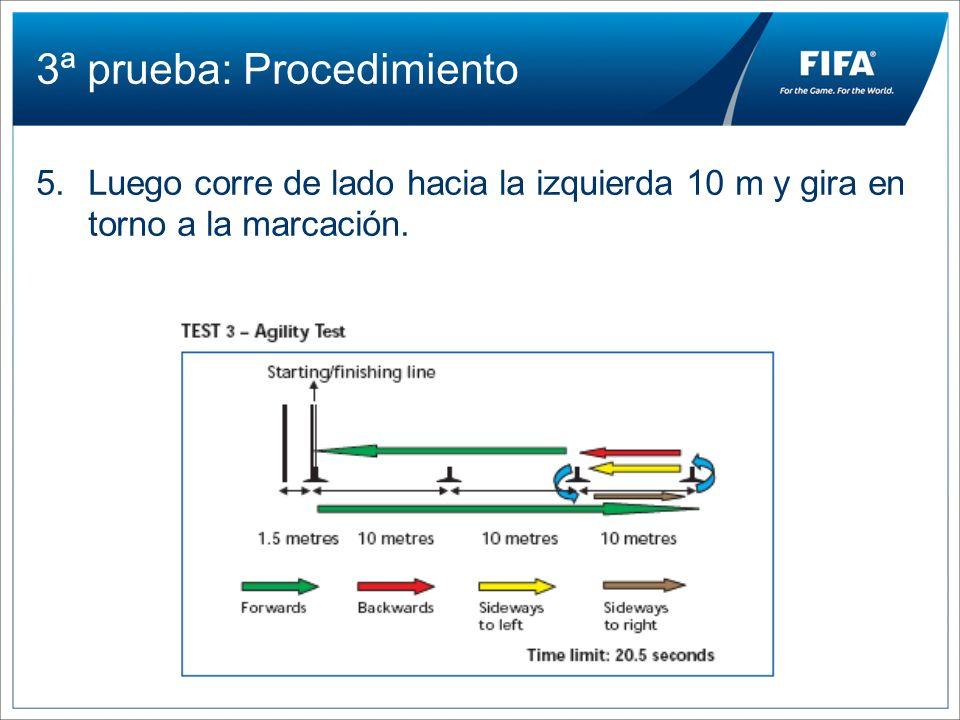3ª prueba: Procedimiento 5.Luego corre de lado hacia la izquierda 10 m y gira en torno a la marcación.