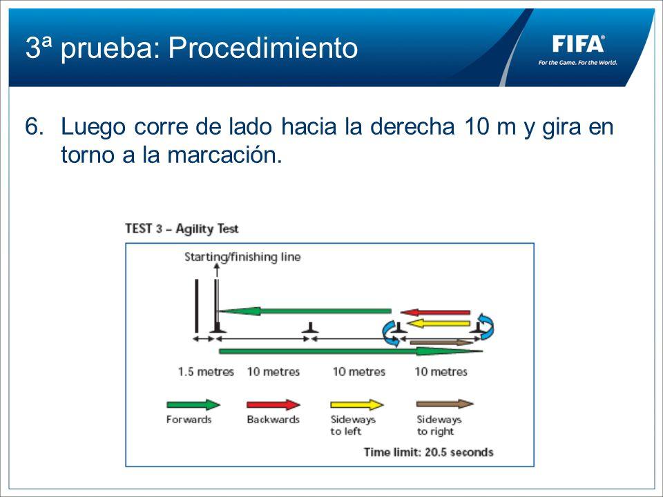 3ª prueba: Procedimiento 6.Luego corre de lado hacia la derecha 10 m y gira en torno a la marcación.