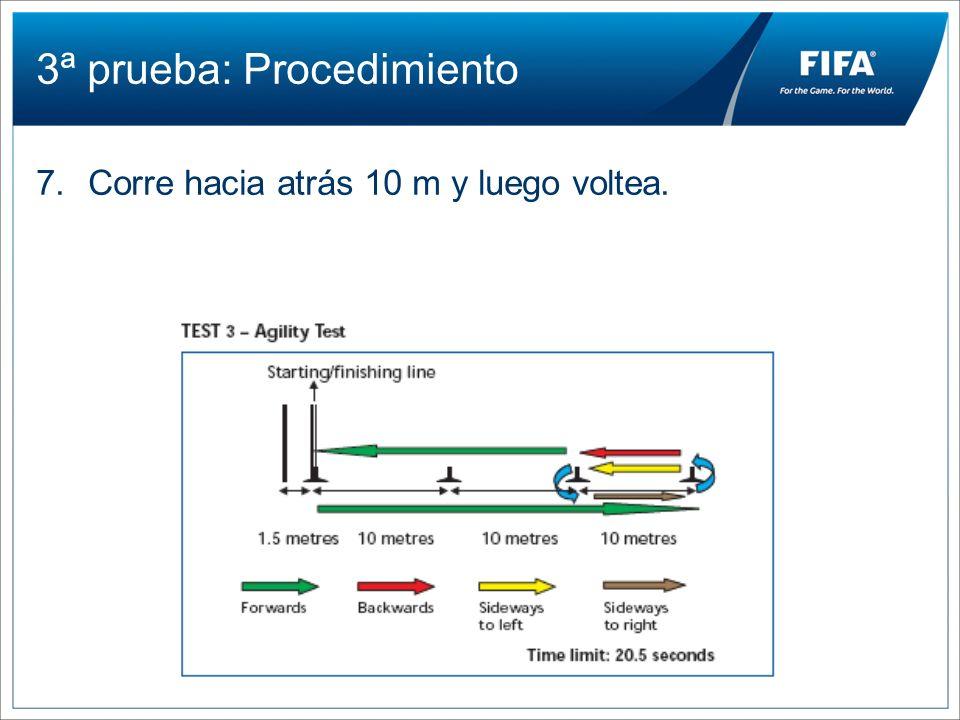 3ª prueba: Procedimiento 7.Corre hacia atrás 10 m y luego voltea.