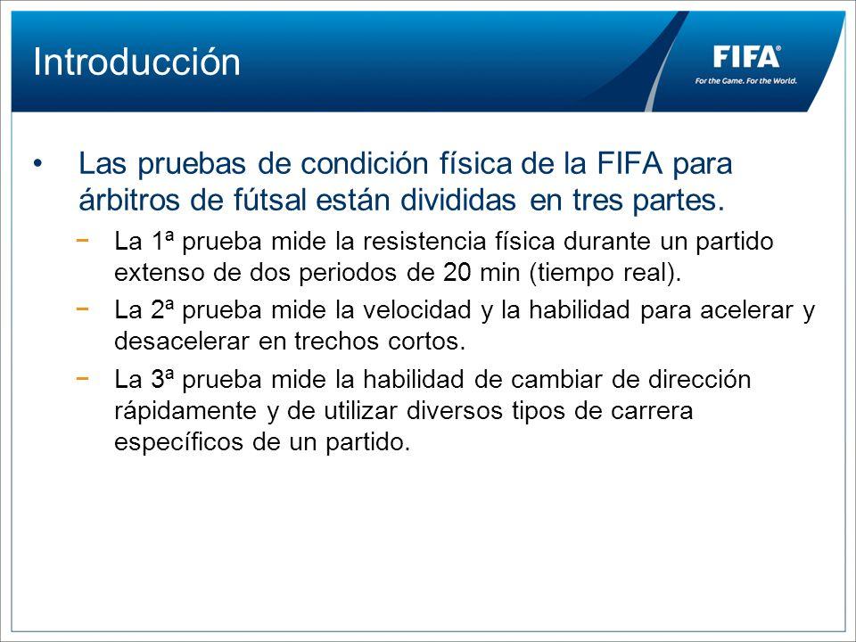 Introducción Las pruebas de condición física de la FIFA para árbitros de fútsal están divididas en tres partes. La 1ª prueba mide la resistencia físic