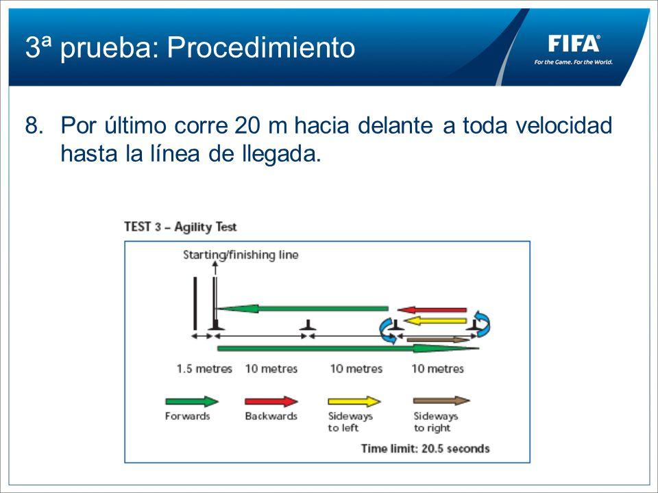 3ª prueba: Procedimiento 8.Por último corre 20 m hacia delante a toda velocidad hasta la línea de llegada.