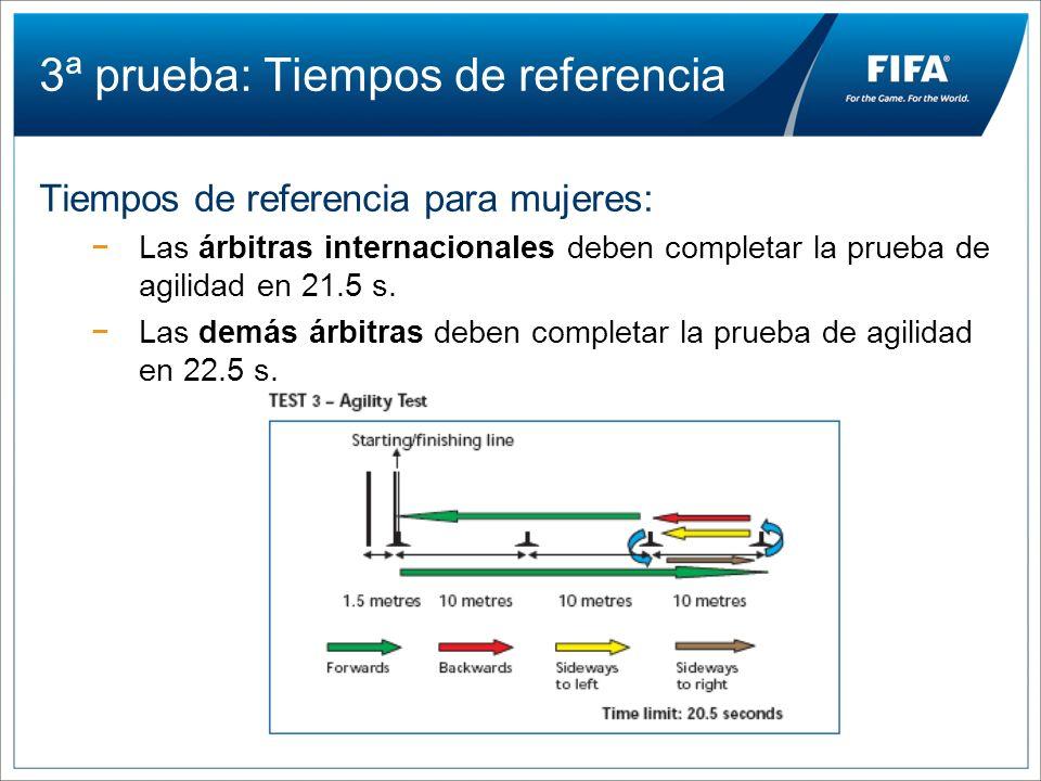 3ª prueba: Tiempos de referencia Tiempos de referencia para mujeres: Las árbitras internacionales deben completar la prueba de agilidad en 21.5 s. Las