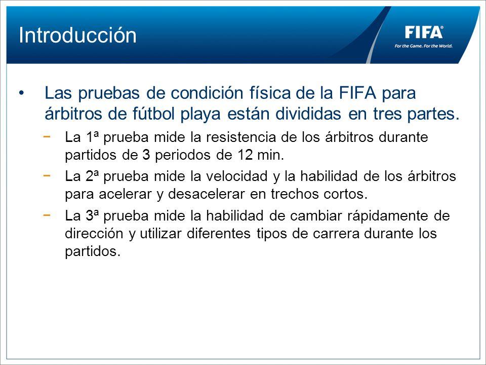 Introducción Las pruebas de condición física de la FIFA para árbitros de fútbol playa están divididas en tres partes. La 1ª prueba mide la resistencia